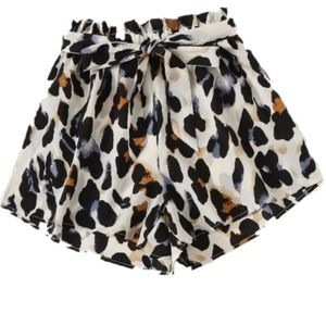 NEW Leopard Cheetah Print Tie Shorts
